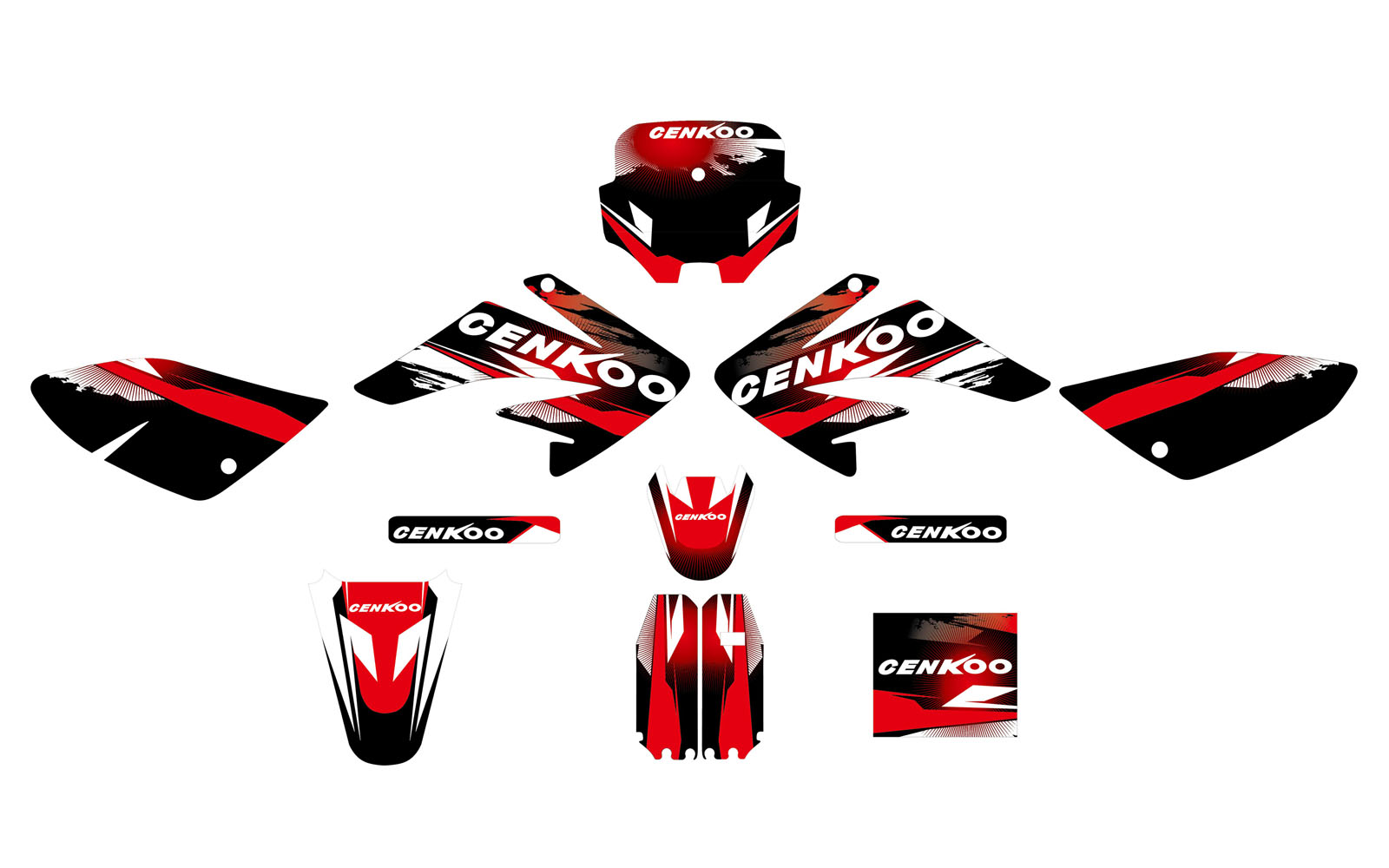 Aufkleber, Dekor Schwarz Rot f. Pit Bike,Dirt Bike CNKO-125-II ...